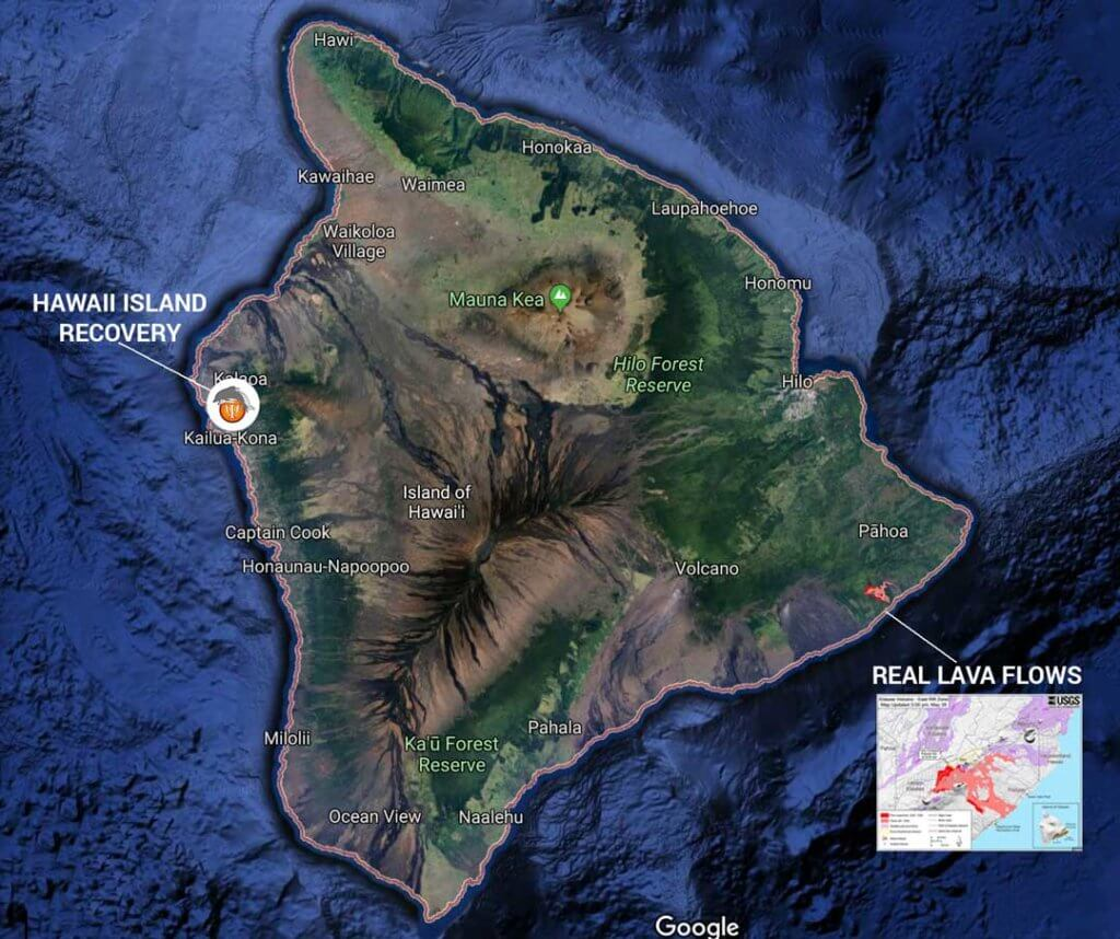 Map of the real lava flow in Hawaii