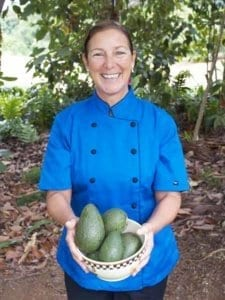 Our chef Dani with avocado at Hawaii Island Recovery