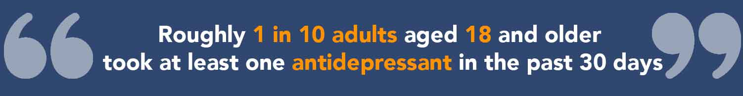 Statistic of people using antidepressant