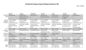 Residential Programming & Staffing Schedule at HIR